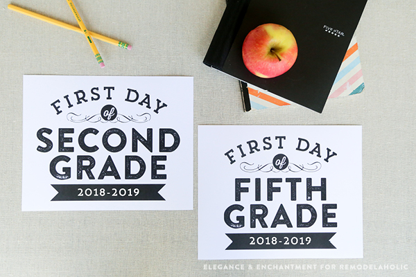 UPDATED for 2018-19! Commemorate the first day of school with the traditional photo and these free printable signs, sized 8 x 10 for the first day of school— from pre-school to 12th grade. Matching last day of school signs, too! Design by Elegance and Enchantment for #Remodelaholic