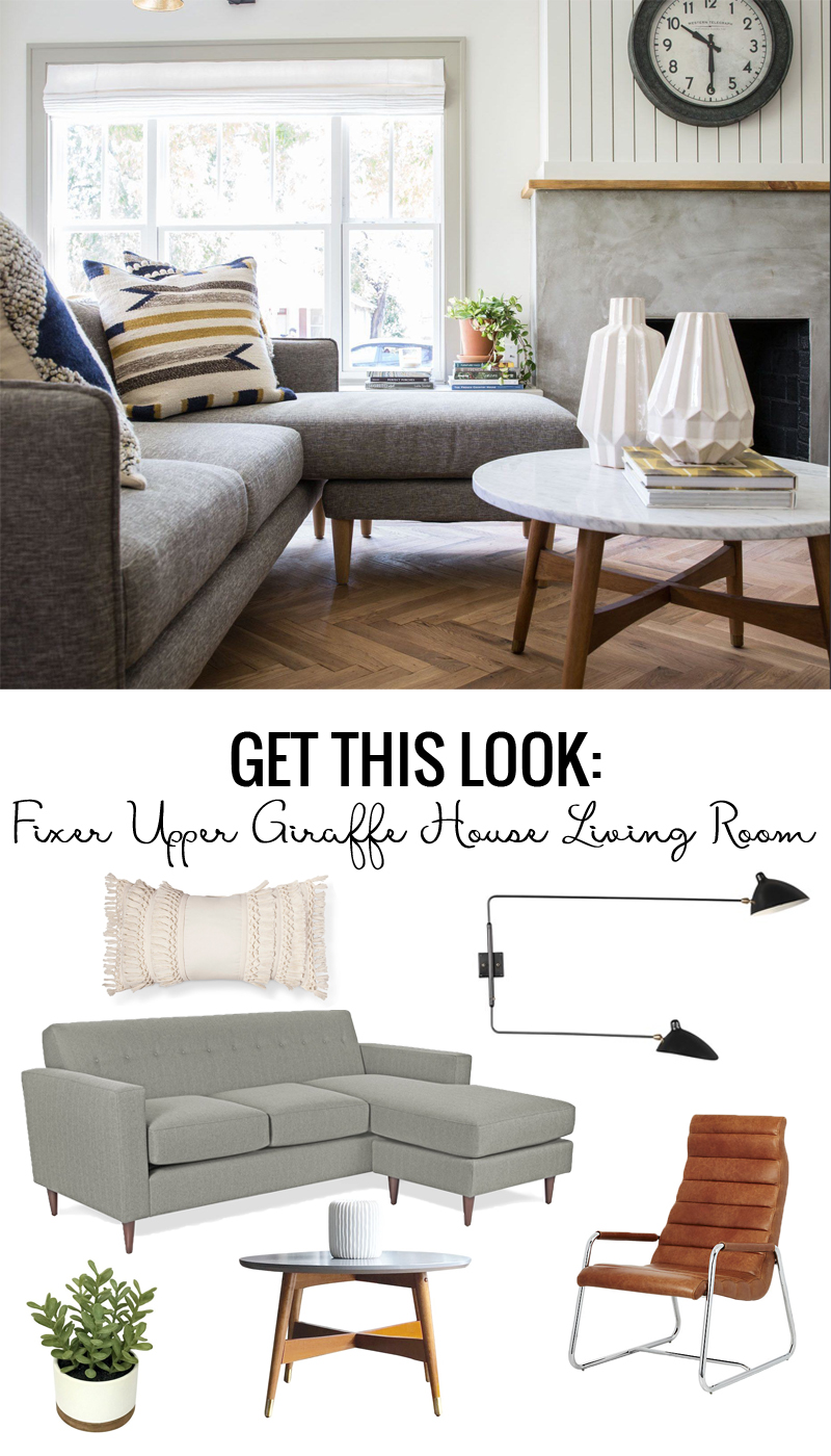 Get the look of the Fixer Upper Giraffe House Living Room featured on Remodelaholic.com