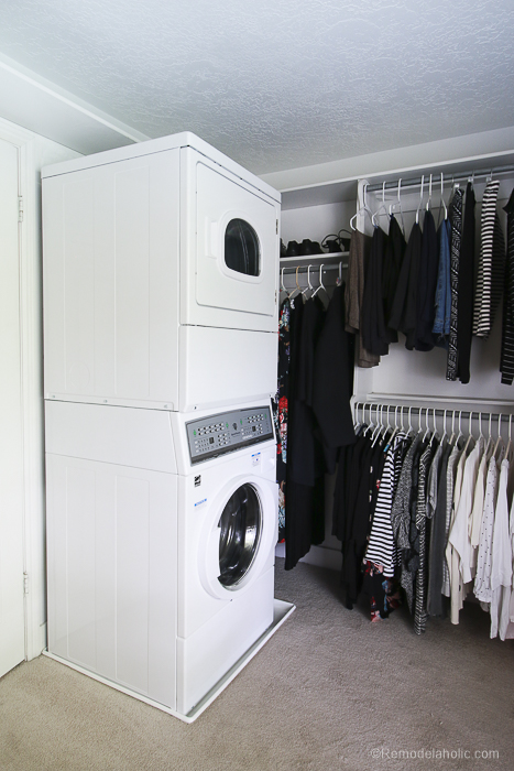 New Speed Queen Stacked Unit Installed Into Closet @Remodelaholic 46