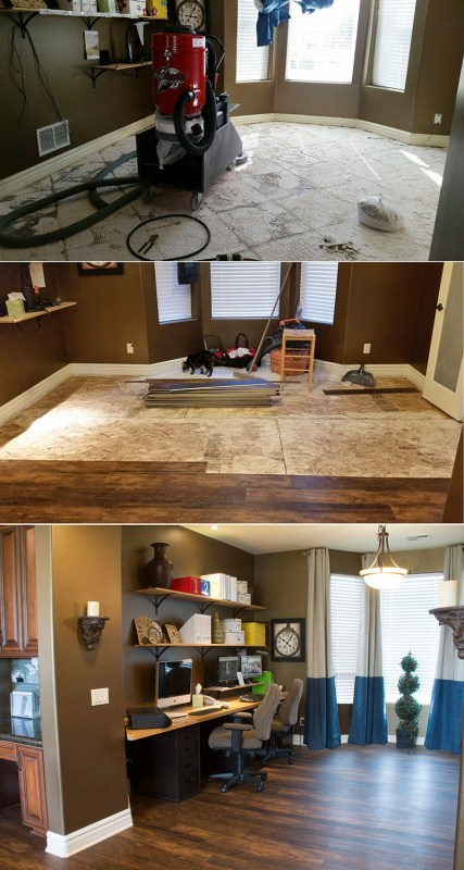 NEW Wood-look Waterproof Flooring -- This beautiful flooring is durable AND easy to clean, great for kitchens and more. Get the look of hardwood, at an affordable price, without the extra maintenance.