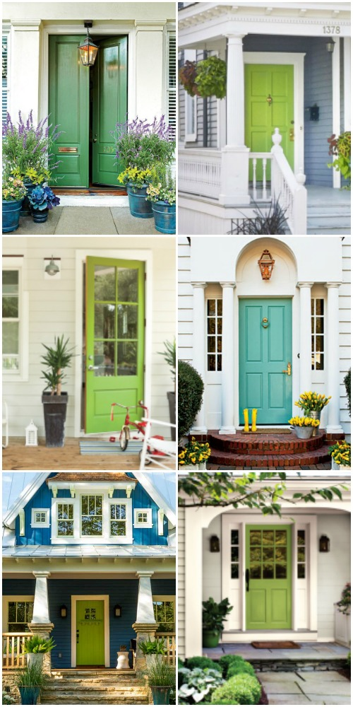 Green Front Door Paint Colors And Porch Inspiration @Remodelaholic