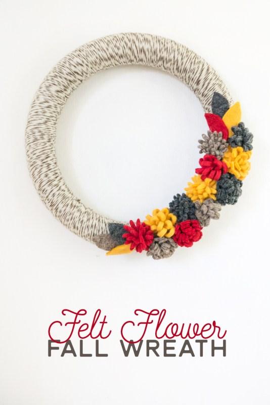 Fall Felt Flower Wreath Crafts Unleashed