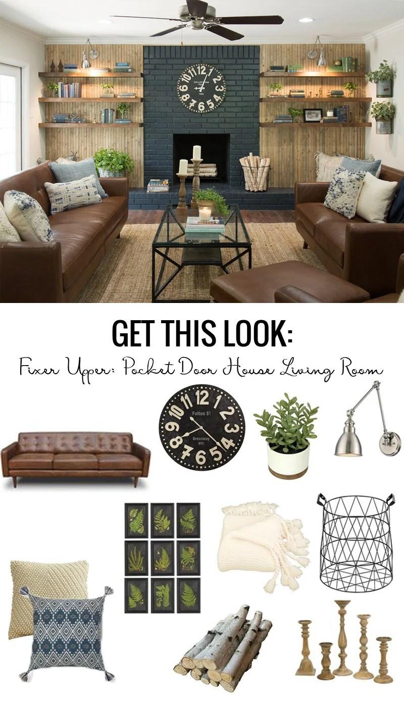 Fixer Upper Pocket Door House Living Room Get This Look featured on Remodelaholic.com