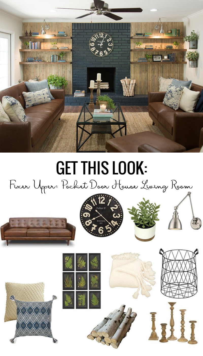 Fixer Upper Pocket Door House Living Room Get This Look featured on Remodelaholic.com