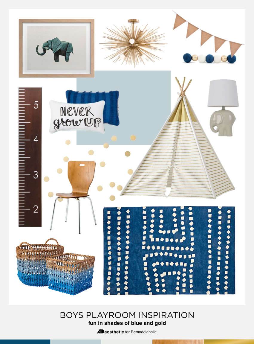 Design a Playful Blue Boys Playroom | Tips Tricks and Inspiration Mood Board