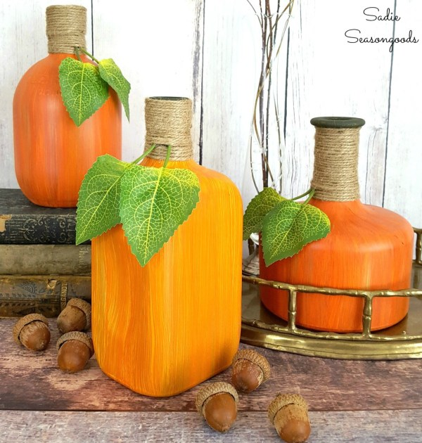 Repurposed Bourbon And Whiskey Glass Liquor Bottles Into Upcycled DIY Pumpkins And Gourds By Sadie Seasongoods