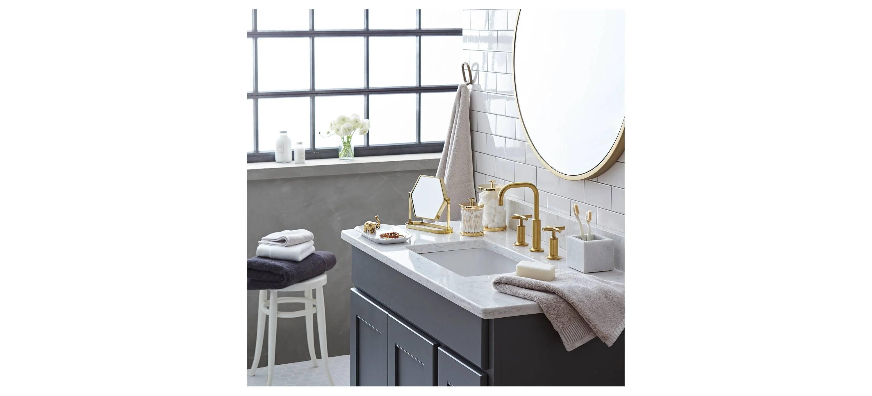 Round Mirror In A Bathroom
