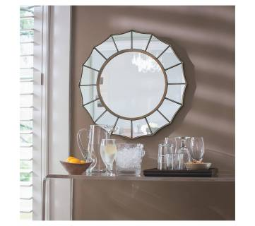 Round Mirror With Barcart