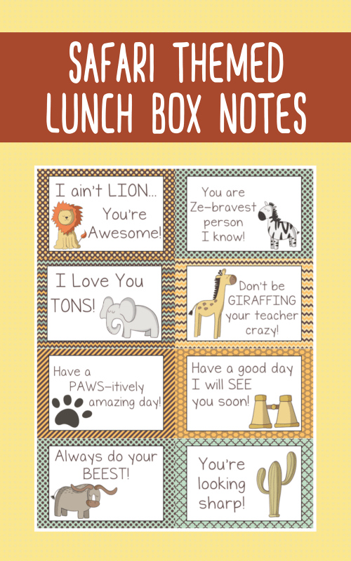 Send a little love at lunch time with these Safari Themed Lunch Box Notes. A FREE printable via Remodelaholic.com
