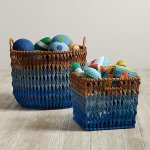 Blue Boys Playroom 02 Blue Ombre Rattan Baskets