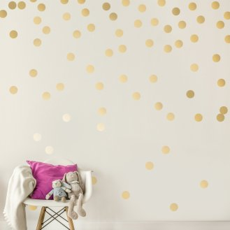 Blue Boys Playroom 09 Gold Polka Dot Wall Decals