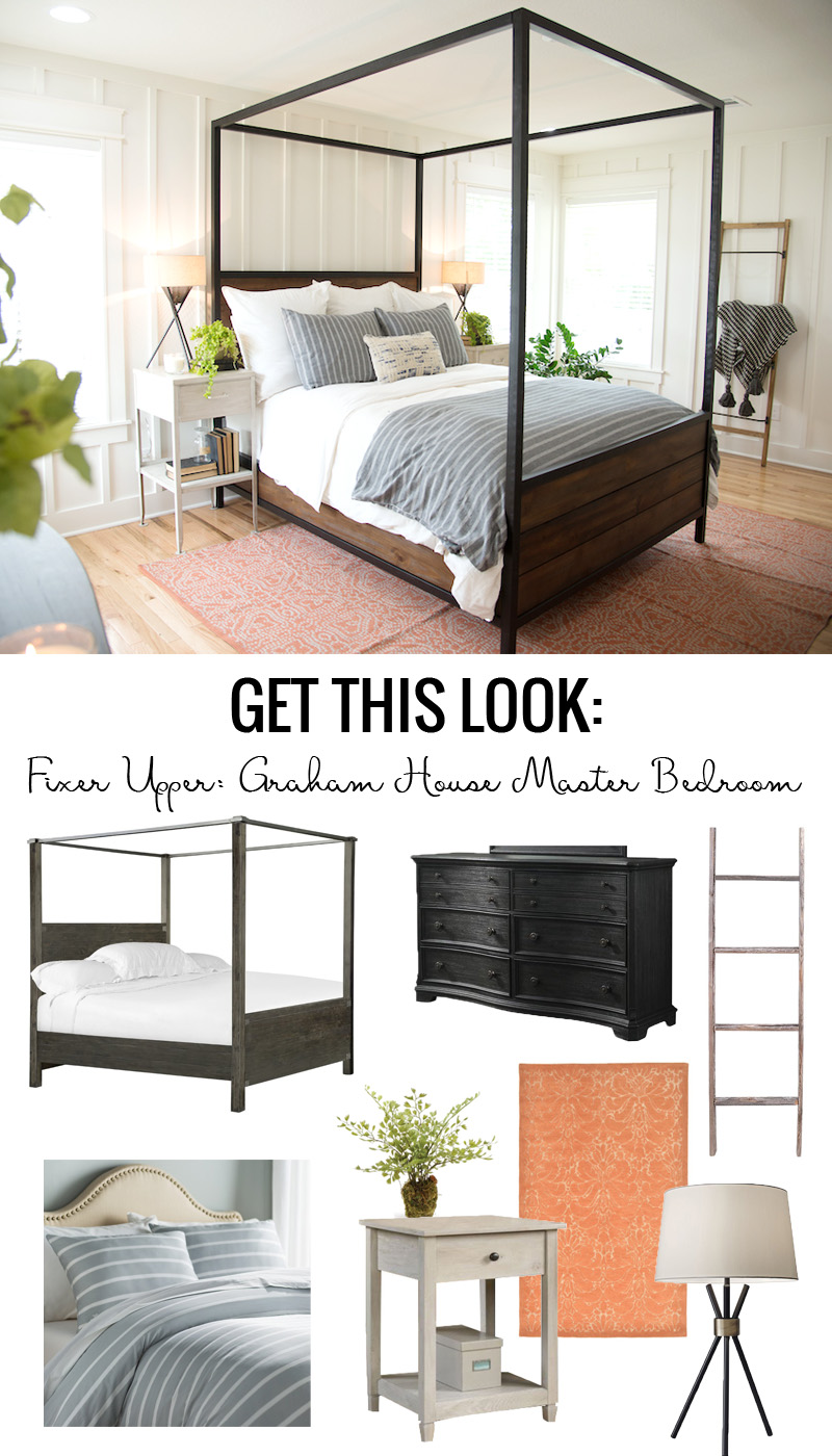 Fixer Upper Graham House Master Bedroom Get This Look via Remodelaholic.com