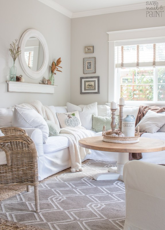 Neutral Fall Decor In Living Room