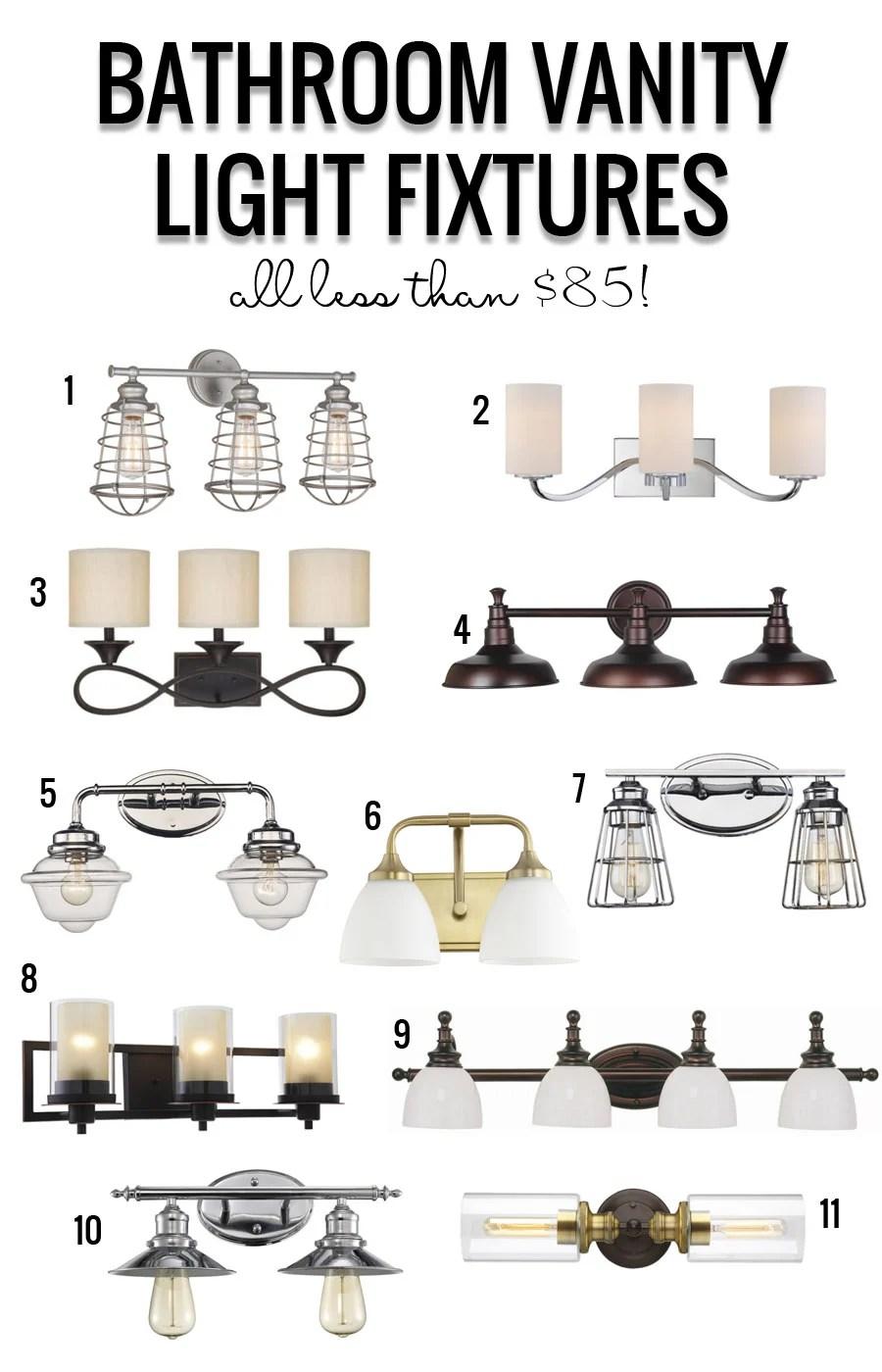 Bathroom Vanity Light Fixtures Under $85 featured on Remodelaholic.com