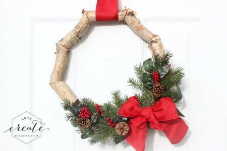 Birch Christmas Wreath Horizontal