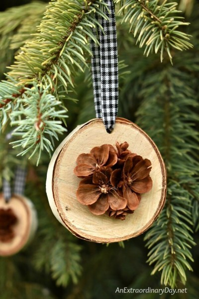 Rustic Handmade Christmas Ornament For The Tree Birch Wood Slices Display Pretty Hand Cut Pine Cone Flowers AnExtraordinaryDay.net