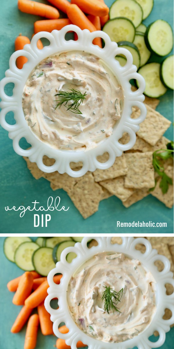 A quick and easy way to add some veggies to your appetizers with these delicious Vegetable Dip recipe at Remodelaholic.com