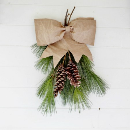 Brown Paper Bow Evergreen Swag1