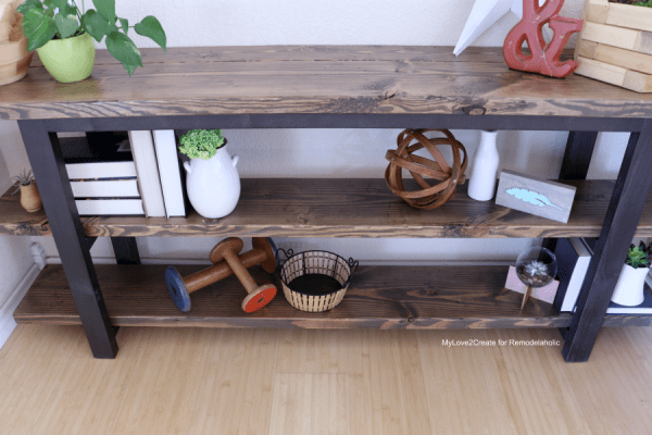 DIY Modern Rustic Console Table, Make Your Own Pottery Barn Inspired Console Table, MyLove2Create For Remodelaholic
