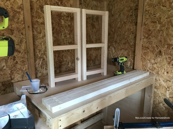 DIY Modern Rustic Console Table, Side Built And Ready For Aprons And Supports, MyLove2Create