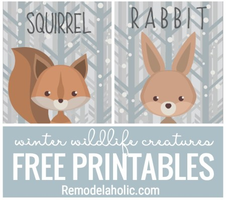 FREEBIE! Adorable Winter Wildlife Creatures Free Printables. Great For Gift Tags, Wall Art, And So Much More At Remodelaholic.com
