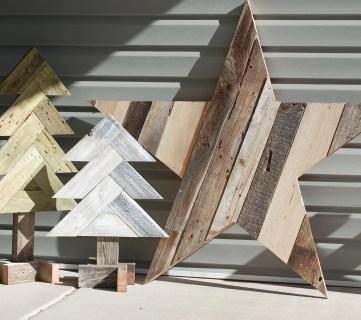 DIY Herringbone Wood Christmas Trees + Sparkly Rustic Wood Star