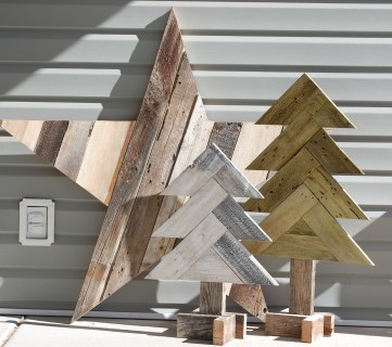 DIY Herringbone Wood Christmas Trees + Sparkly Rustic Wood Star
