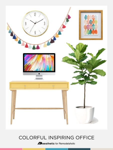 Create a chic and colorful home office with these decorating tips, inspiration, and furniture and decor selections. Pin Image