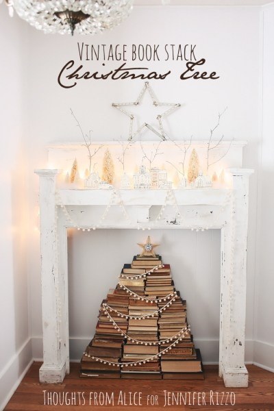 Vintage Book Stack Christmas Tree