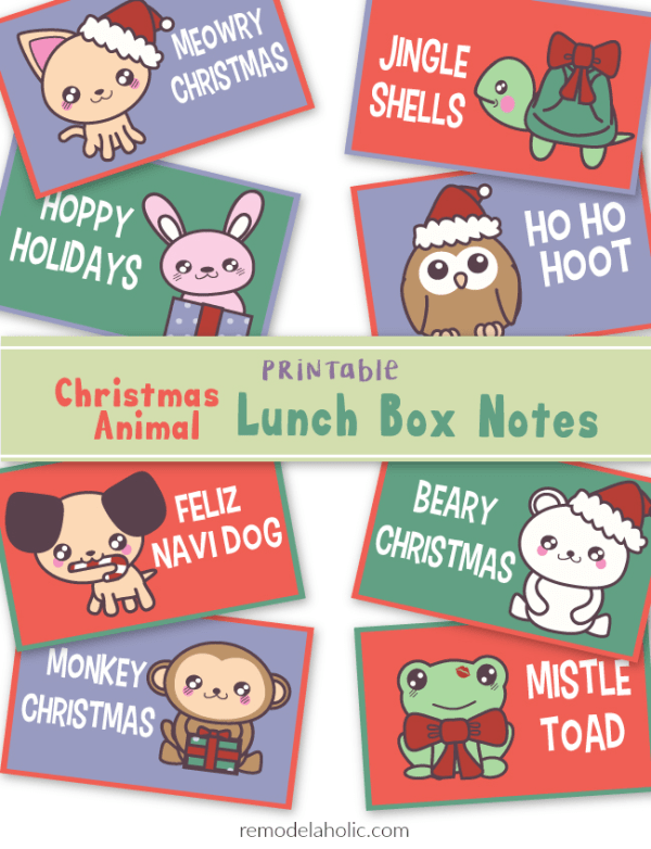 Free Printable Christmas Animal Lunch Box Notes (or Gift Tags) | Holiday Ideas for Kids | Lunchbox Notes | Punny Christmas Jokes