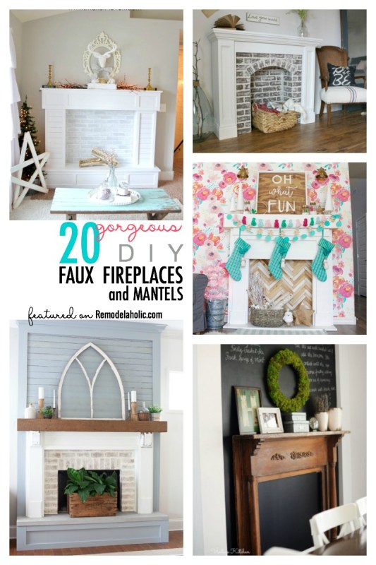 No fireplace? Create your own! Here are 20 DIY faux fireplaces and mantels to build, for any spot in your home. Built-ins or free-standing, big or small!