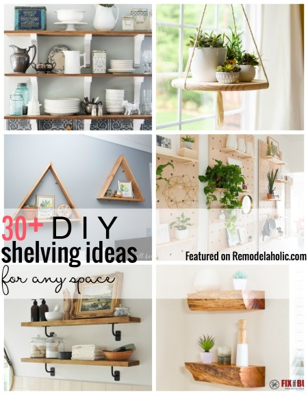 Add some extra storage with wall shelves. Try one of our featured 30+ DIY shelving ideas for any space featured on remodelaholic.com