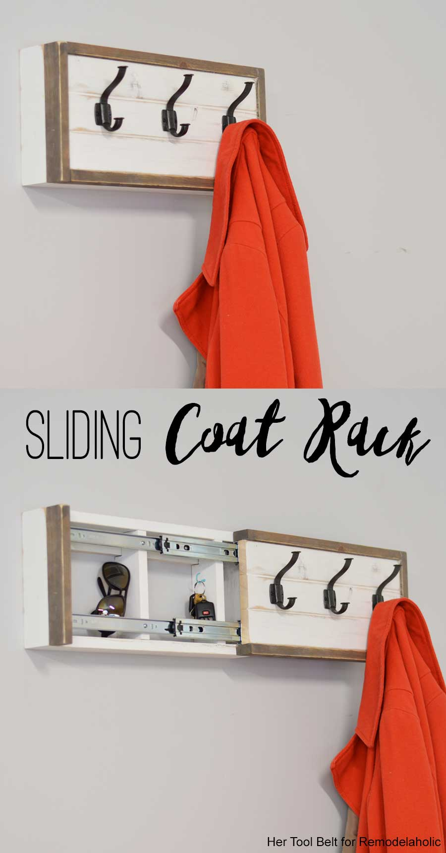 Build a farmhouse style coat rack with a secret compartment to hide small items.  sc 1 st  Remodelaholic & Remodelaholic | Build a Wall Coat Rack with Hooks and Hidden Storage