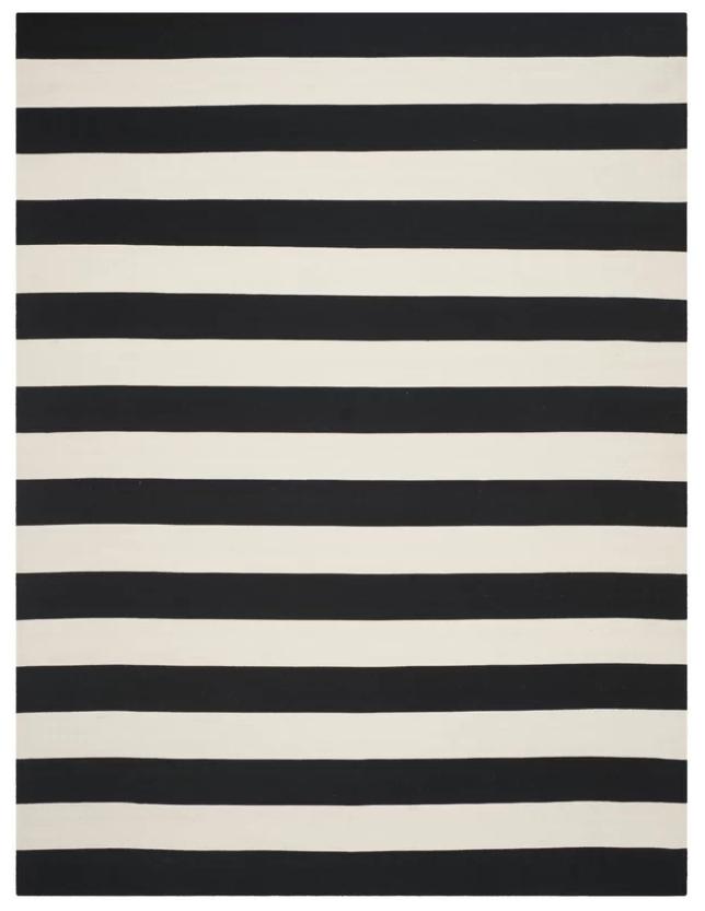 Black & White Striped Rug