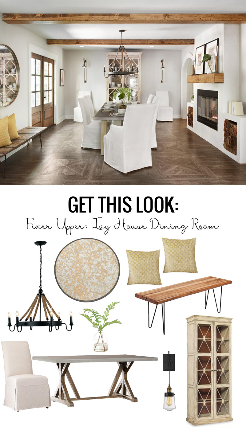 Get the coastal villa look of the Fixer Upper Ivy House Dining Room featured on Remodelaholic.com