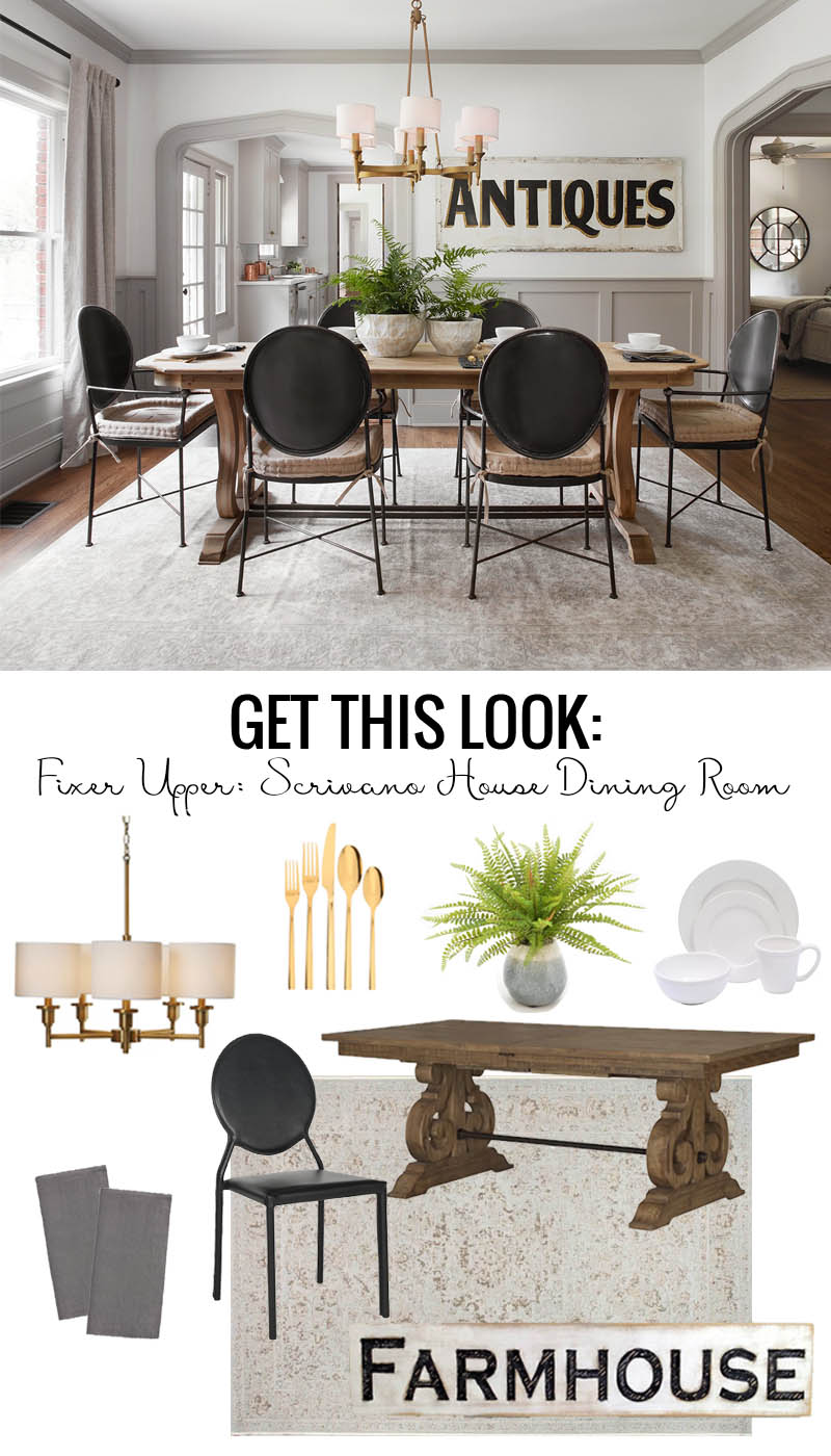 Remodelaholic | Get This Look: Fixer Upper Scrivano House Dining Room
