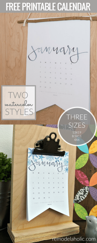 Beautiful watercolor printable 2018 calendar! Get the free digital download at Remodelaholic.com, available in 3 sizes, from a 4x6 photo size to a 8.5x11 letter size to an extra large 13x19 poster size. Choose the colorful seasonal watercolor style or the simpler minimalist black and white style.