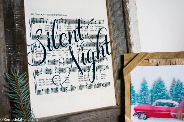 Printable Farmhouse Style Vintage Christmas Sheet Music, Handlettered Christmas Song Art #remodelaholic
