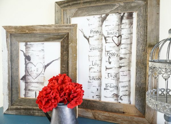 Free Printable Gift Idea, Custom Carved Birch Tree Print Set 2 @Remodelaholic