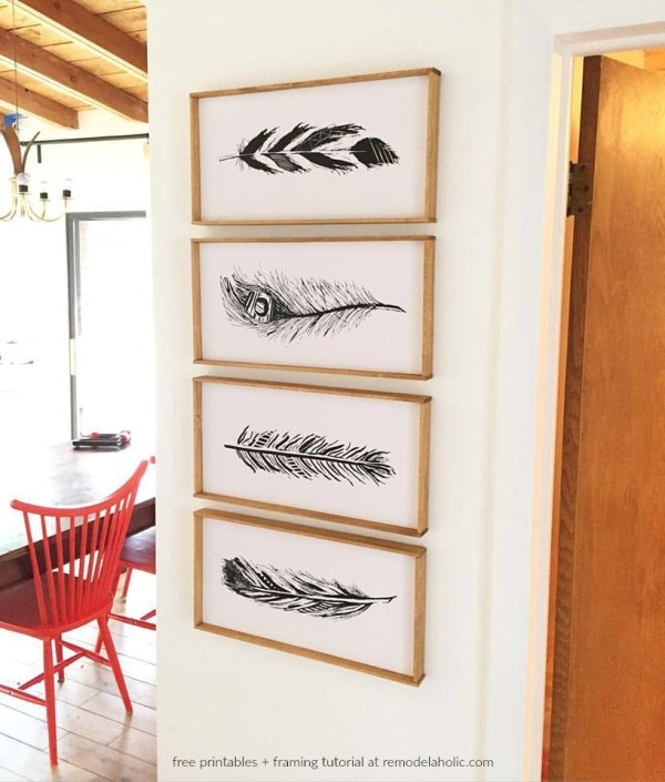 DIY Large Wall Art Printable Feather Set