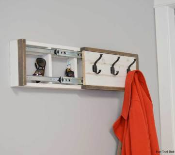 Build a Wall Coat Rack with Hooks and Hidden Storage