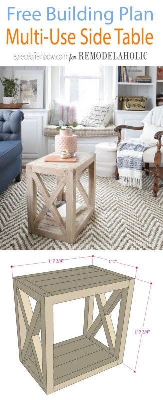 Multi Use Side Table Building Plan | DIY Farmhouse Side Table Building Plan | Build this versatile multi-use farmhouse end table to use as a side table in the living room or as a bedside table. Living room photo courtesy of Nesting with Grace, free building plan at Remodelaholic.com.
