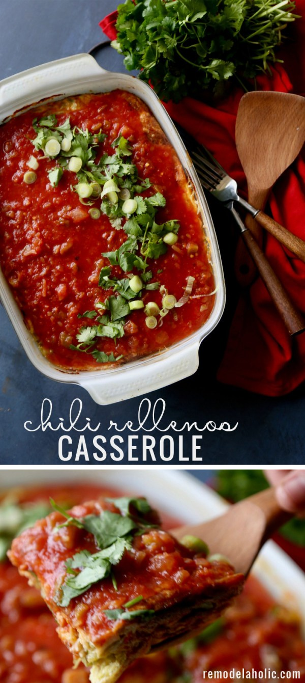 This chili rellenos casserole is a crowd-pleasing easy dish for dinner or brunch. Just a few simple ingredients are transformed into a delicious one pan meal the whole family will love.