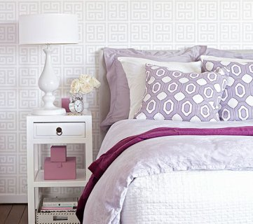 White And Purple Bedroom Via BHG