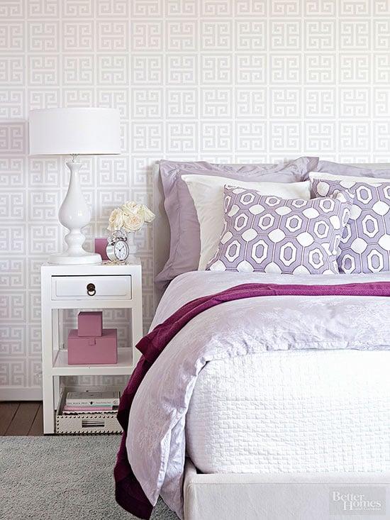 White And Purple Bedroom Via BHG