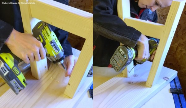Attach Legs To Bench Top, Easy DIY Bench, MyLove2Create