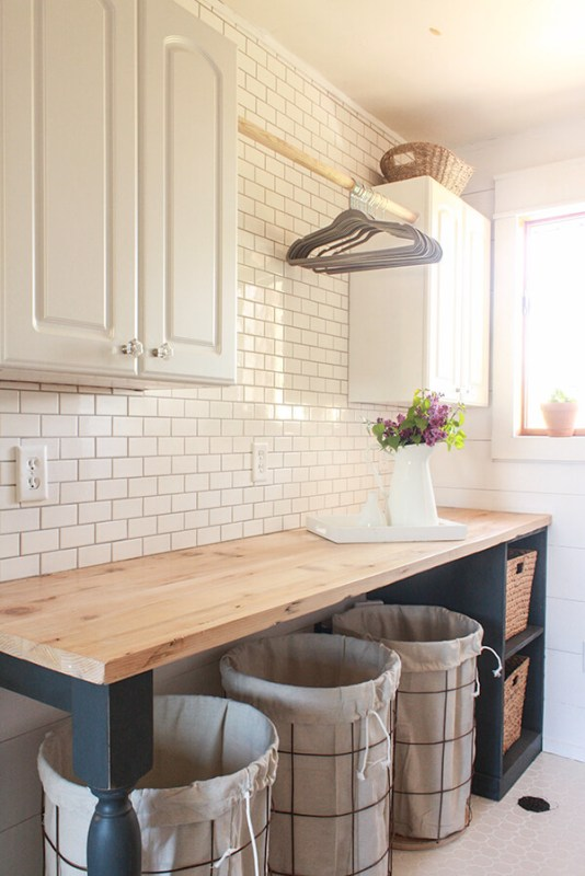 Best DIY Tutorials And Tips, Farmhouse Laundry Room With DIY Folding Table And Wire Laundry Baskets Twelve On Main