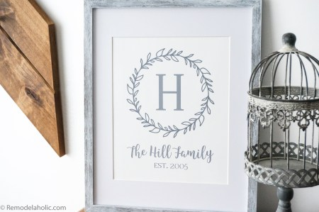 Custom Printable Farmhouse Monogram Wreath Print Set (2)