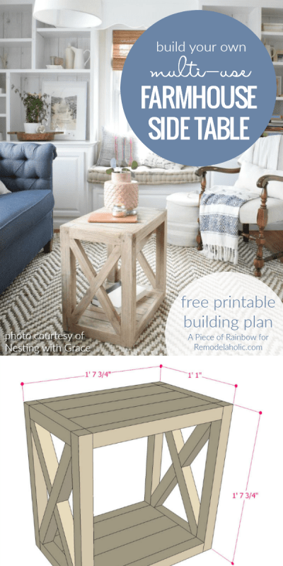 Diy Farmhouse Side Table End Table Building Plan @Remodelaholic