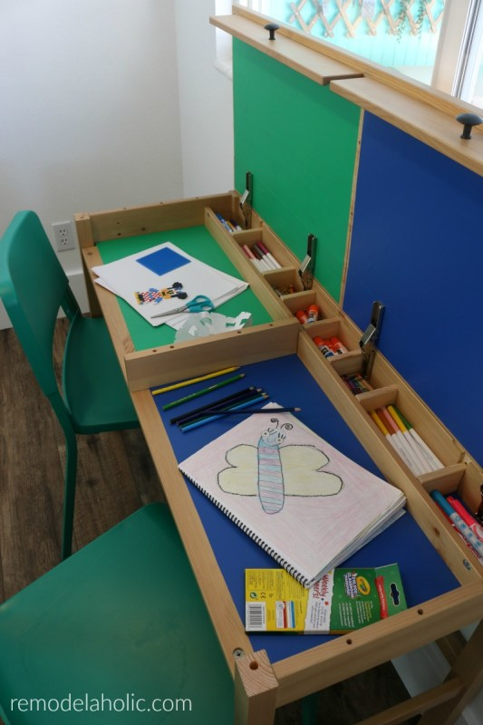Easy IKEA Desk Hack With Divided Hidden Compartments For Easy Clean Up Kids Crafts And Homework #remodelaholic